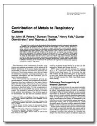 Contribution of Metals to Respiratory Ca... by Peters, John M.