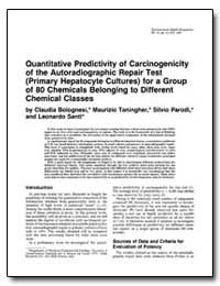 Quantitative Predictivity of Carcinogeni... by Bolognesi, Claudia