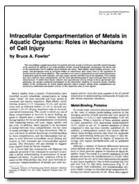 Lntracellular Compartmentation of Metals... by Fowler, Bruce A.