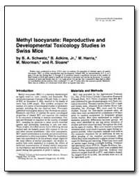 Methyl Isocyanate : Reproductive and Dev... by Adkins, Bernard