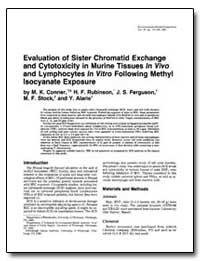 Evaluation of Sister Chromatid Exchange ... by Conner, Mary K.