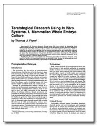 Teratological Research Using in Vitro Sy... by Friedman, Leonard