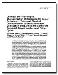 Chemical and Toxicological Characterizat... by Leary, Julie A.