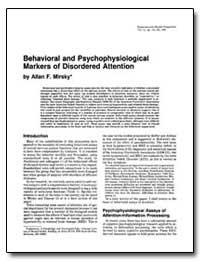 Behavioral and Psychophysiological Marke... by Mirsky, Allan F.