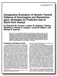 Comparative Evaluation of Genetic Toxici... by Tennant, Raymond W., Dr.
