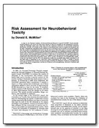 Risk Assessment for Neurobehavioral Toxi... by Mcmillan, Donald E.