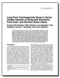 Long-Term Carcinogenicity Study in Syria... by Ahlberg, Mats
