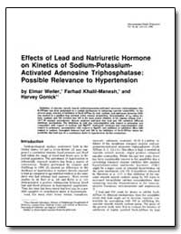 Effects of Lead and Natriuretic Hormone ... by Weiler, Elmar