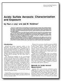 Acidic Sulfate Aerosols : Characterizati... by Lioy, Paul J.