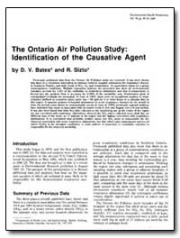 The Ontario Air Pollution Study : Identi... by Bates, David Vincent