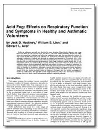Acid Fog : Effects on Respiratory Functi... by Linn, William S.