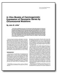 In Vitro Models of Carcinogenesis : Expr... by Little, John B.