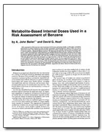 Metabolite-Based Internal Doses Used in ... by Hoel, David G.