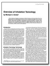 Overview of Inhalation Toxicology by Dorato, Michael A.