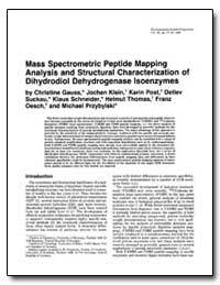 Mass Spectrometric Peptide Mapping Analy... by Gauss, Christine