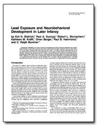 Lead Exposure and Neurobehavioral Develo... by Dietrich, Kim N.