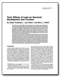 Toxic Effects of Lead on Neuronal Develo... by Freedman, Robert