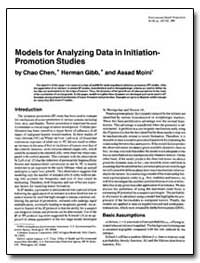 Models for Analyzing Data in Lnitiation-... by Chen, Chao
