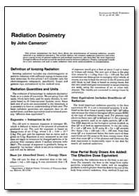 Radiation Dosimetry by Cameron, John