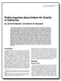 Public Inquiries about Indoor Air Qualit... by Mache, Janet M.