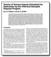 Toxicity of Vesicant Agents Scheduled fo... by Watson, A. P.