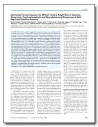 Controlled Human Exposure to Methyl Tert... by Opiekun, Richard E.