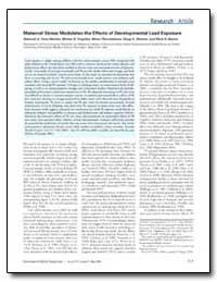 Maternal Stress Modulates the Effects of... by Virgolini, Miriam B.