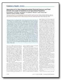 Association of in Utero Organophosphate ... by Eskenazi, Brenda