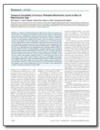 Temporal Variability of Urinary Phthalat... by Meeker, John D.