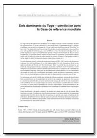 Sols Dominants du Togo Correlation avec ... by Food and Agriculture Organization of the United Na...