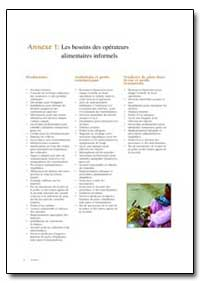 Les Besoins des Operateurs Alimentaires ... by Food and Agriculture Organization of the United Na...