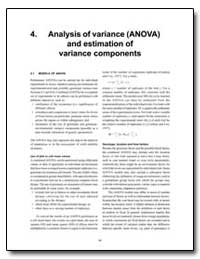 Analysis of Variance (Anova) and Estimat... by Food and Agriculture Organization of the United Na...