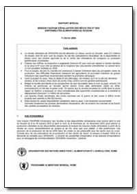 Mission Fao/Pam D'Evaluation des Recolte... by Food and Agriculture Organization of the United Na...
