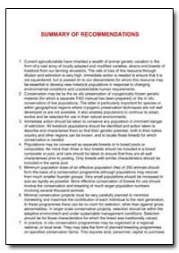 Summary of Recommendations by Food and Agriculture Organization of the United Na...