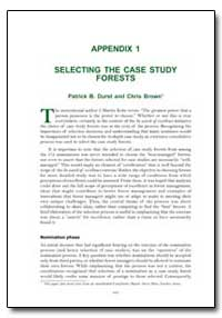 Selecting the Case Study Forests by Durst, Patrick B.