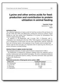 Lysine and Other Amino Acids for Feed : ... by Toride, Yasuhiko