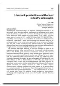 Livestock Production and the Feed Indust... by Loh, T. C.