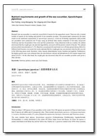 Nutrient Requirements and Growth of the ... by Huiling, Sun
