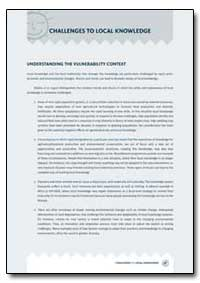 Understanding the Vulnerability Context by Food and Agriculture Organization of the United Na...
