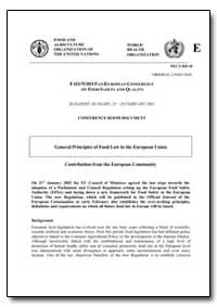 General Principles of Food Law in the Eu... by Food and Agriculture Organization of the United Na...