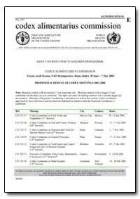 Proposed Schedule of Codex Meetings 2003... by Food and Agriculture Organization of the United Na...