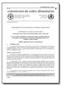 Additif 5 Application Dautres Recommanda... by Food and Agriculture Organization of the United Na...