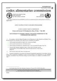 List of Draft Standards and Related Text... by Food and Agriculture Organization of the United Na...