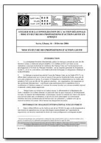 Mise en Oeuvre des Propositions Daction ... by Food and Agriculture Organization of the United Na...