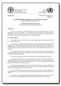 Food Safety Situation in Sierra Leone by Food and Agriculture Organization of the United Na...