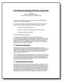 Factors Influencing Protein Utilization by Payne, P. R.