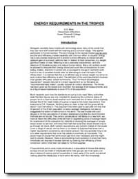 Energy Requirements in the Tropics by Miller, D. S.