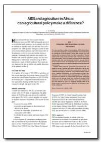Aids and Agriculture in Africa: Can Agri... by Guerny, J. Du