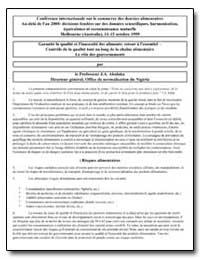 Garantir la Qualite et L'Innocuite des A... by Abalaka, J. A.