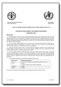 Limit Test for Heavy Metals in Food Addi... by Food and Agriculture Organization of the United Na...